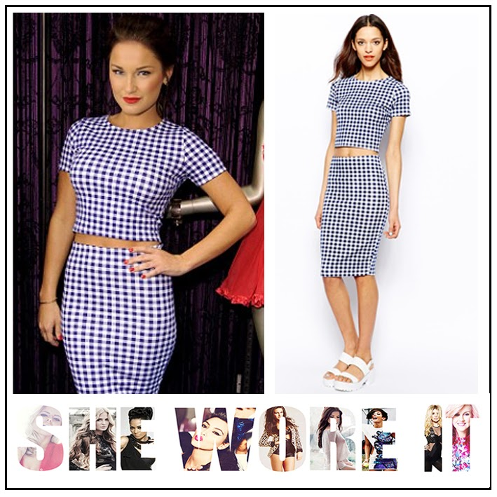 Ann Summers, ASOS, Blue, body con, Co-ordinate Set, Crop Top, Giles Deacon, Gingham, Matching, Pencil Skirt, Print, Pull and Bear, Sam Faiers, TOWIE, White,