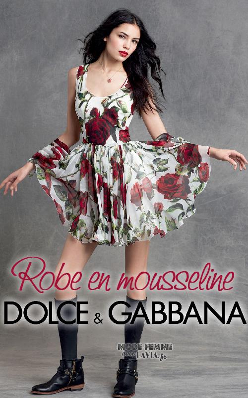Robe en mousseline motif roses D&G
