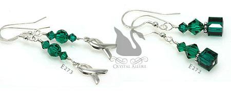 Swarovski Crystal Transplant Awareness Ribbon Earrings (E272, E273)