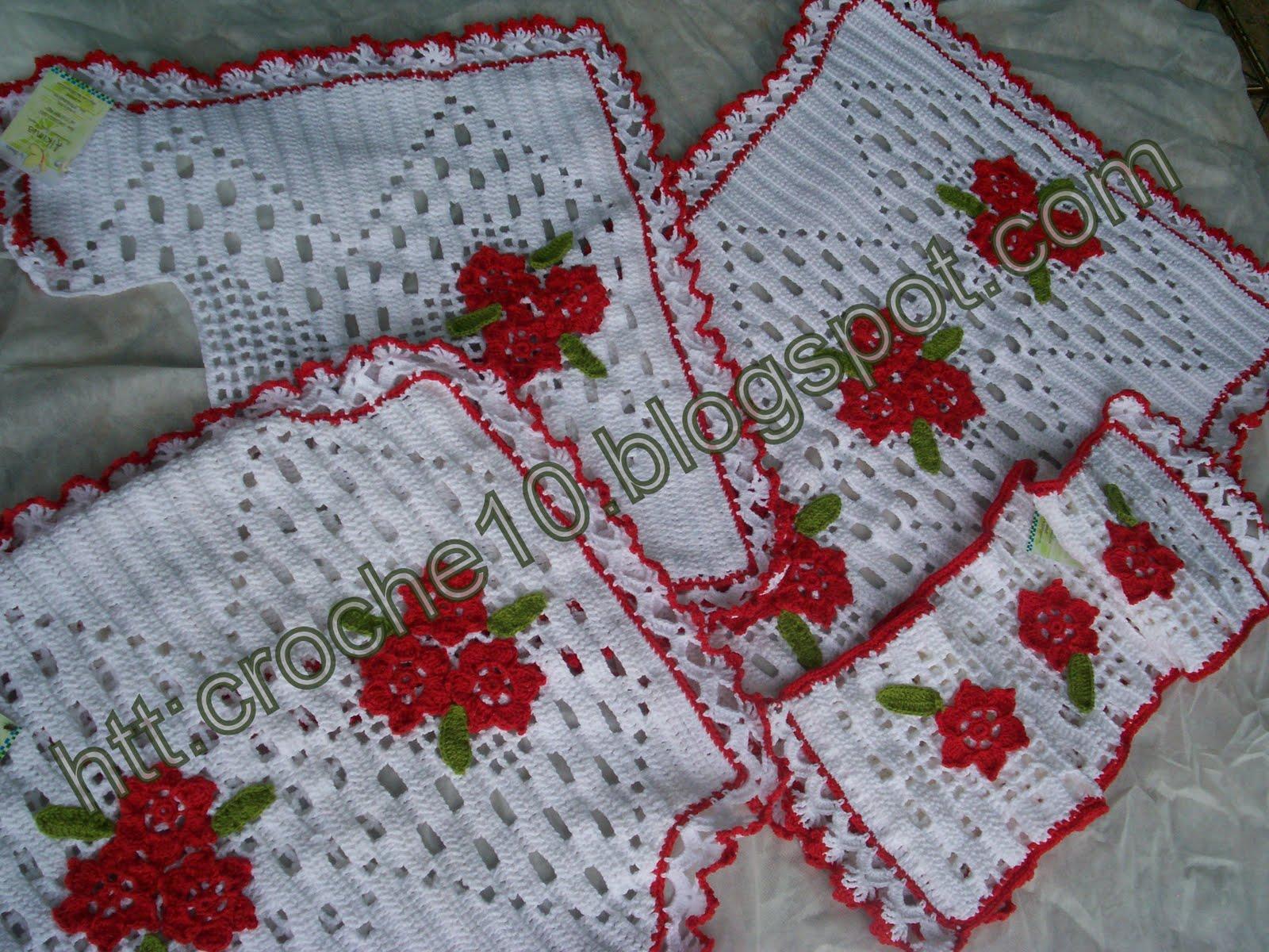decoracao de banheiro vermelho e branco:CONJUNTO DE BANHEIRO VERMELHO E BRANCO: Crochet com Arte