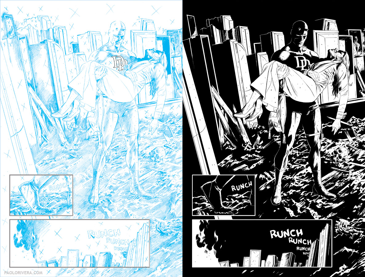 daredevil 10 page 15 2012 inked by joe rivera on marvel board 11 1725 - Comic Book Coloring