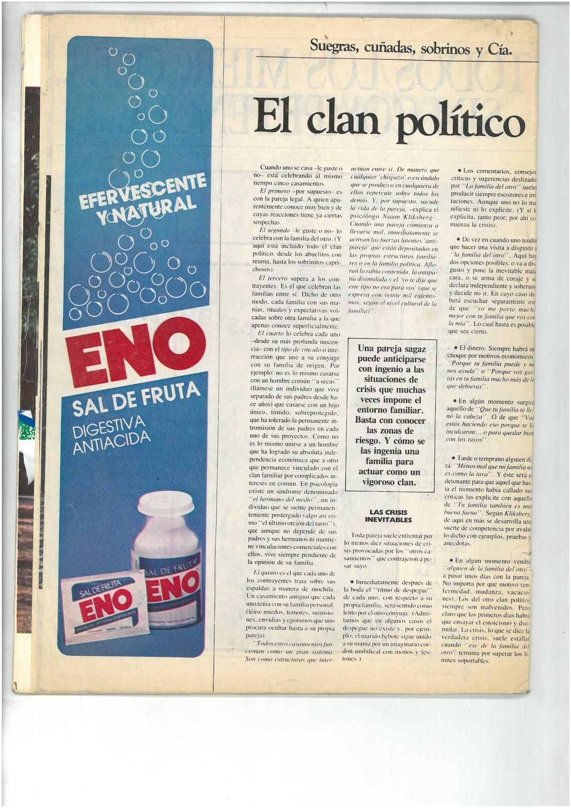 61 - REVISTA VOSOTRAS, ARGENTINA,N°2641. ENTREVISTA A NAUM KLIKSBERG SOBRE LOS 5 MATRIMONIOS