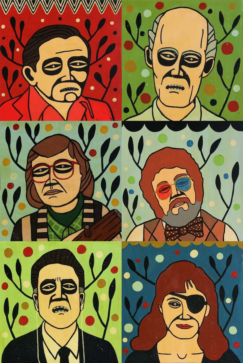 Twin Peaks Painting and Print Series by Mike Egan - The Man from Another Place, The Giant, The Log Lady, Dr. Lawrence Jacoby, Gordon Cole & Nadine Hurley