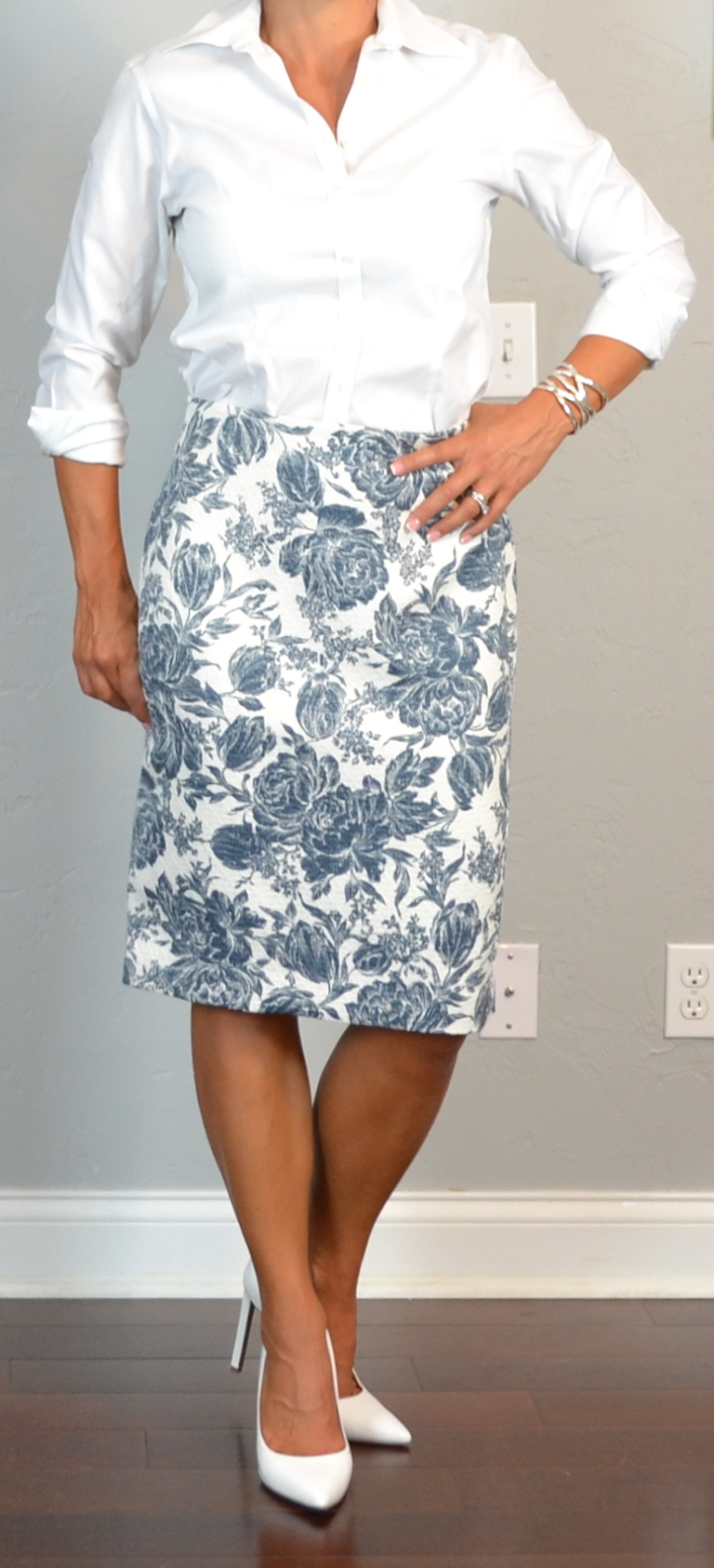 posts post floral pencil skirt white