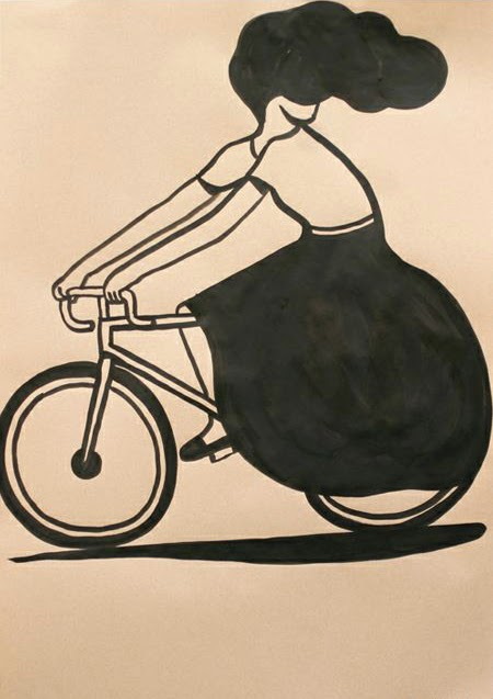 a woman on a race bicycle illustration by Geoff McFetridge