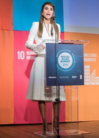 Queen Rania of Jordan attends the 2015 Social Good Summit