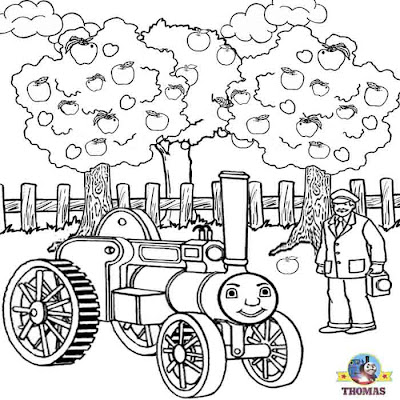 Kids Thomas the train coloring pages free online printable picture Trevor traction engine apple tree