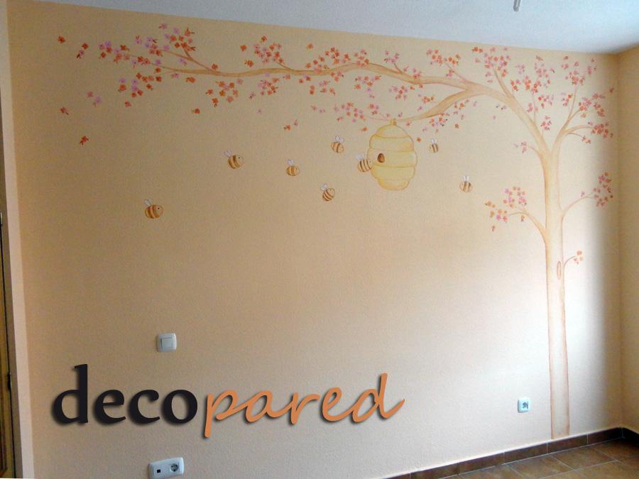Decopared mural infantil arbol con flores y colmena - Murales de pared pintados a mano ...