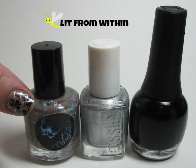 Bottle shot:  Wing Dust Roads Untraveled, Essie No Place Like Chrome, and Finger Paints Black Expressionism.