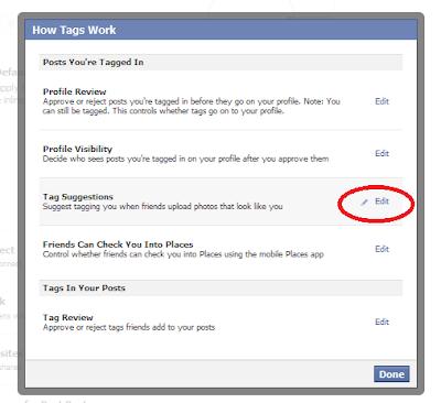 """منع تاج """"Tag"""" الفيس بوك"""
