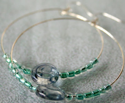 Sunset on the Beach - hoop earrings: glass, wire wrapping, sterling silver :: All Pretty Things
