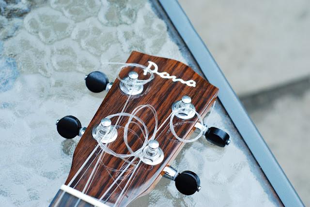 Pono MTD-E tenor ukulele headstock