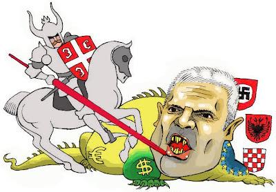 Св. Ђорђе убија аждају: карикатура