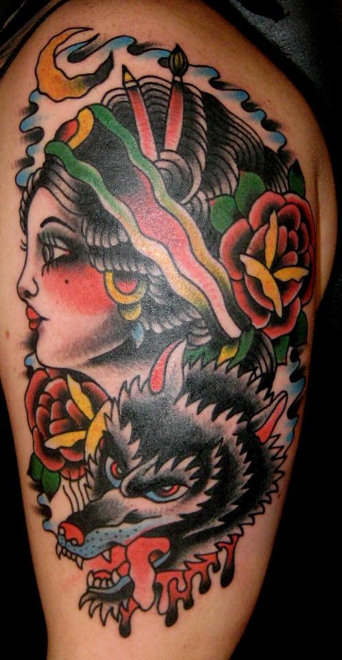 Wild tattoos wolf tattoo design ideas for Wolf tattoo traditional