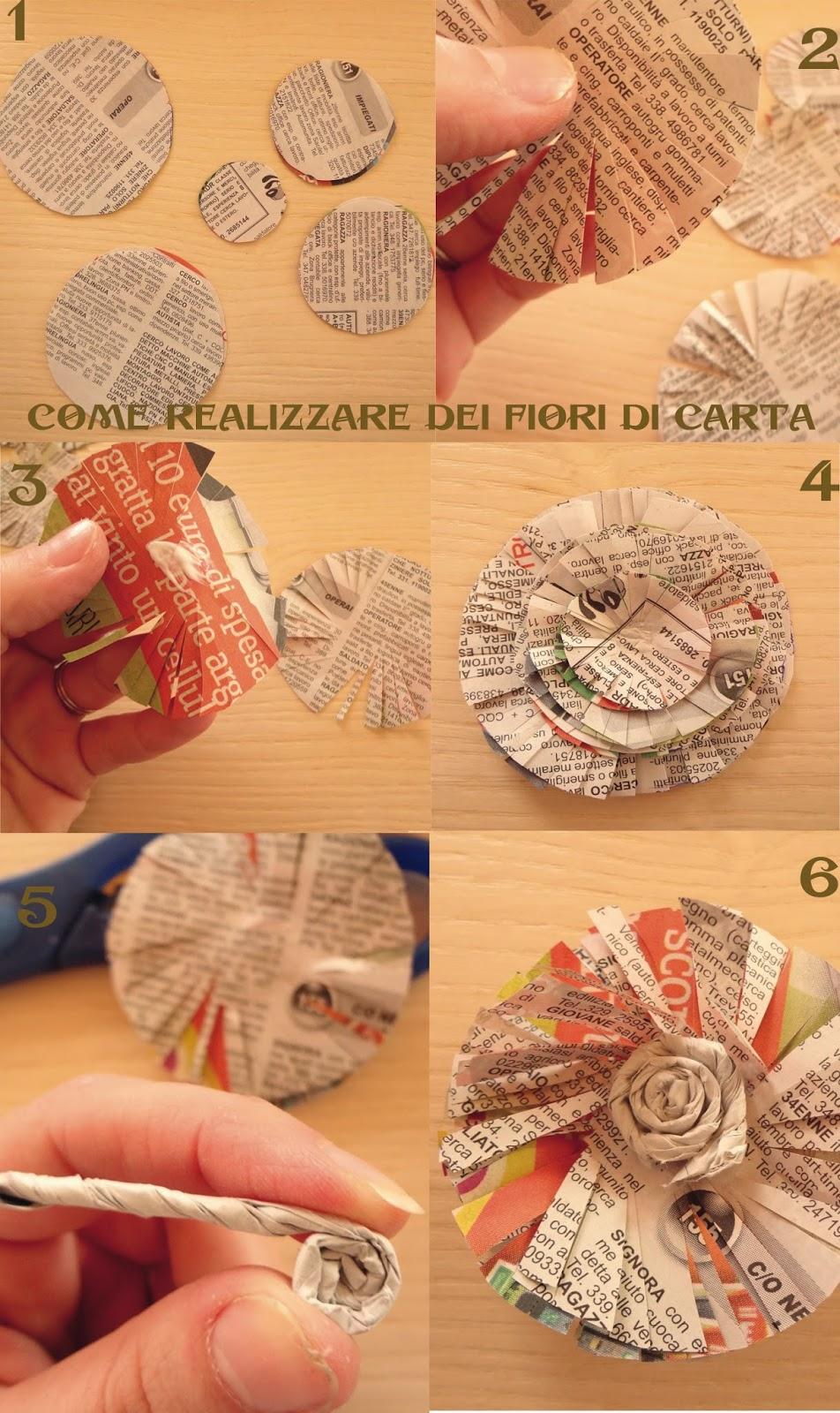 Steff dec fiori con carta di giornale for Fiori di carta di giornale