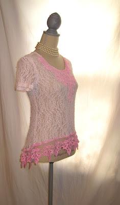 Shabby Blush  Lady's Blouse, Women's Fancy Clothing, Slanted Hem