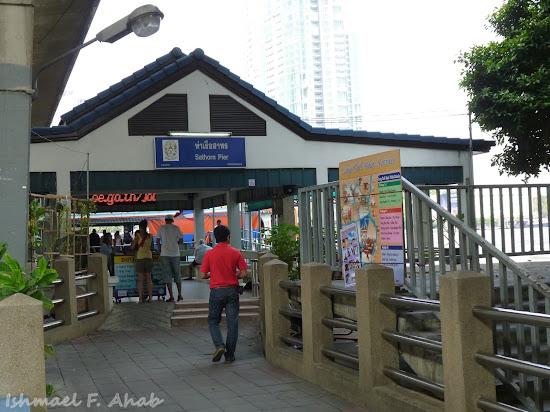 Sathorn Pier along Chao Phraya River
