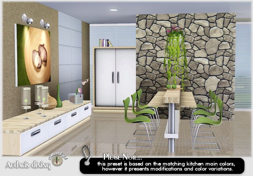 My sims 3 blog audacis dining room by simcredible designs for Sims 3 dining room ideas