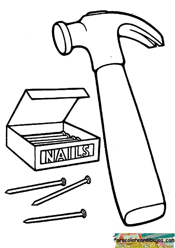 dibujo de martillo para colorear