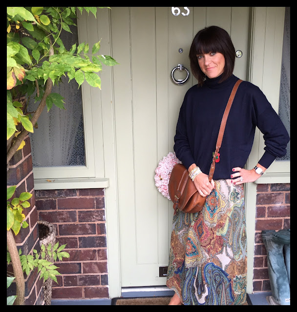 My Midlife Fashion, Clarks Saddle Bag, Knitted Boyfriend Oversized Polo Neck, Zara Paisley Boho Dress