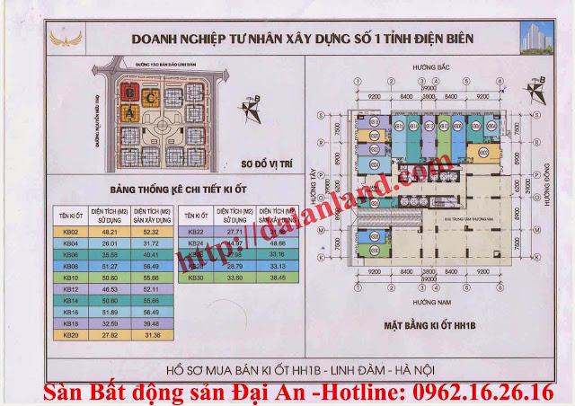 Mặt Bằng Kiot Chung Cư HH1 Linh Đàm - Tòa HH1B