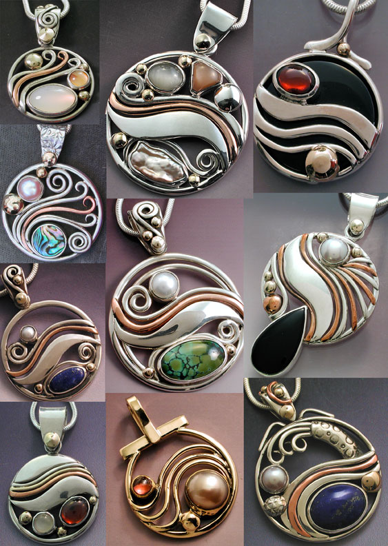 Mixed Metal Jewels: Mixed Metal Circle Wave Pendants
