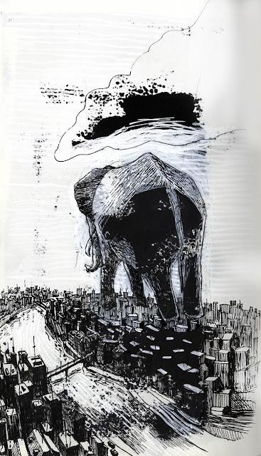 dessin au stylo noir d'un éléphant volant par dessus une ville contemporaine traversée par un fleuve onirique