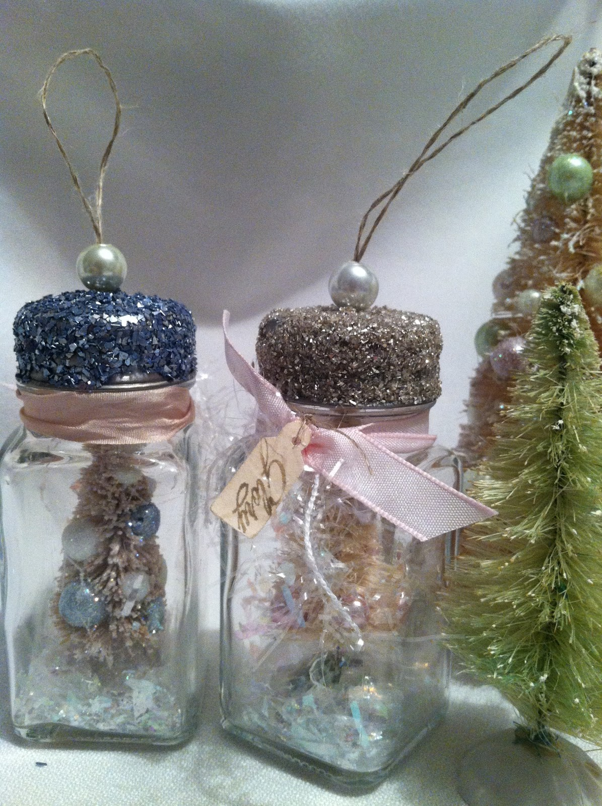 Inkypinkies vintage chic bottle brush tree ornaments for Bottle brush christmas tree decorations