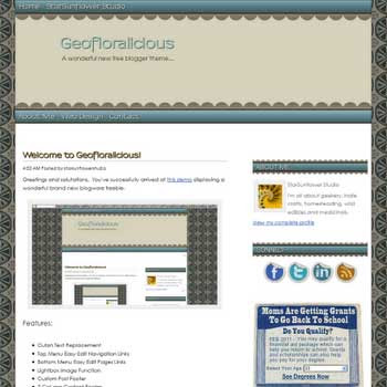 free Geofloralicious blogger template Green Ornate Vintage with artistic background