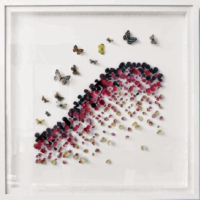 Anna Masters butterflies and petals at the affordable art fair June 2014