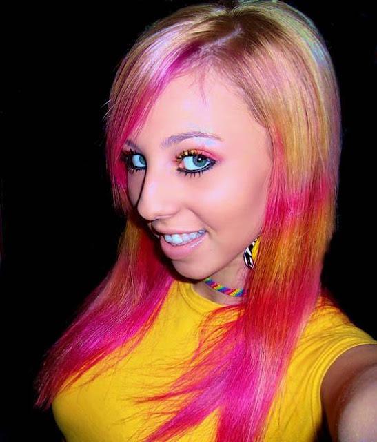 Anh dep gai lau xanh girls with rainbow colored hair emo lazy