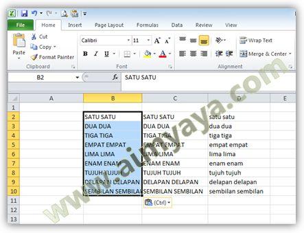 Gambar: Contoh nilai sel di Excel yang telah diubah menjadi huruf besar/kapital