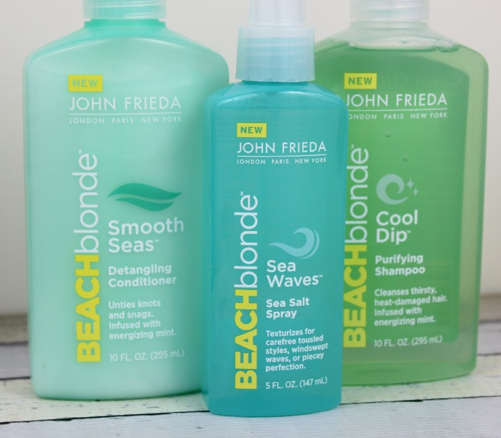 JohnFrieda® Beach Blonde™ Sea Waves™ Sea Salt Spray JohnFrieda® Beach Blonde™ Cool Dip™ Shampoo and Beach Blonde™ Smooth Seas™ Conditioner