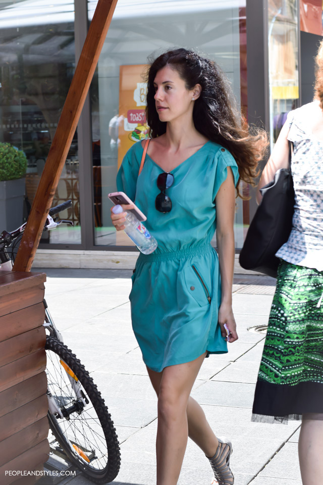 smart casual workwear womens Green casual mini dress street style in Zagreb, summer fashion, June 2015. What to wear to work in summer