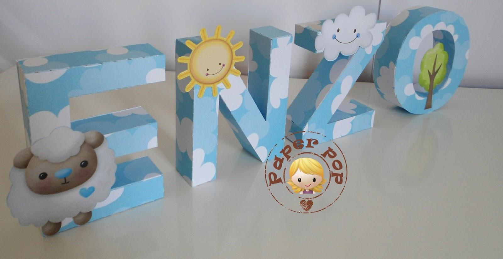 Letras decorativas tema carneirinho paperpop arte em papel - Letras decorativas pared ...