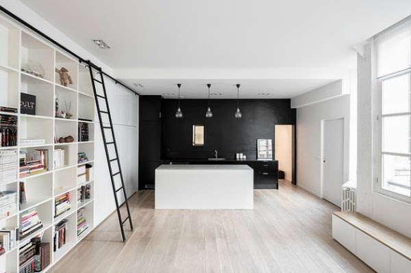 white invisible kitchen design island black ladder