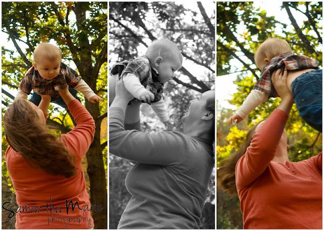 mom swinging little boy