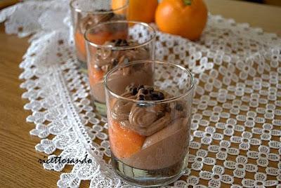 mousse di cioccolato con crema all'arancia