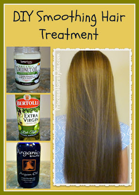 At home hair treatment recipe and tutorial. Coconut oil, olive oil, argan oil.