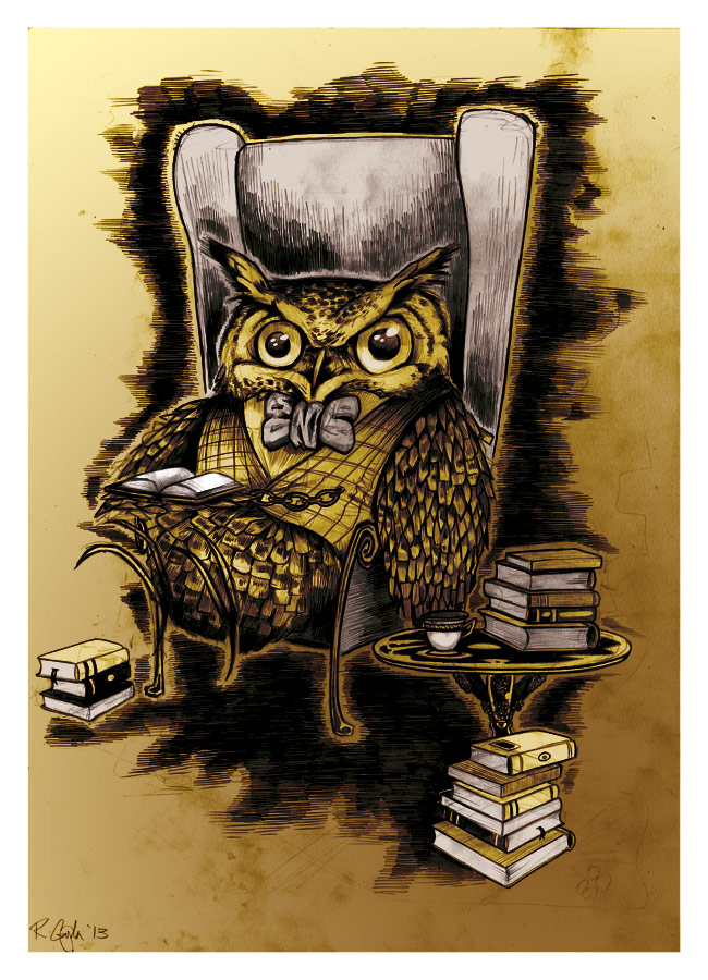 Owl in Waistcoat and bowtie with books - Pencil
