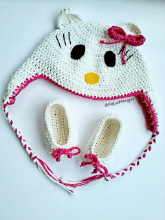 Topi Rajut Hello Kitty, crochet hat hello kitty, baby booties, sepatu rajut
