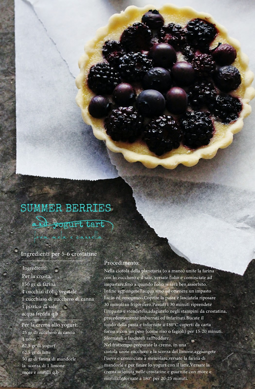 Mela e Cannella: Summer Berries and yogurt tart