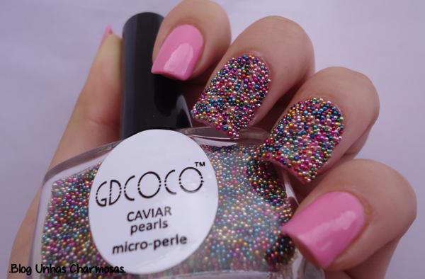 unhas de caviar, unhas com micro pérolas, unhas com pérolas, kit  Gdcoco, esmaltes  Gdcoco,  Gdcoco, Tmart, unhas com caviar, unhas gêmeas, unhas lindas, unhas da moda, unhas de caviar passo a passo, esmalte rosa, unha rosa,