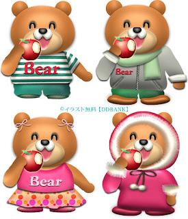 リンゴを食べるクマのイラスト