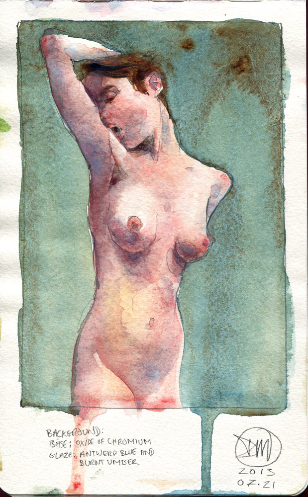 A5 watercolour figure painting by David Meldrum