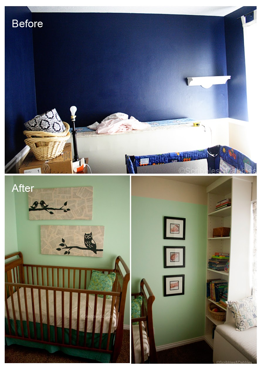 Scribbles&Dabbles: Nursery Reveal -- crib before and after
