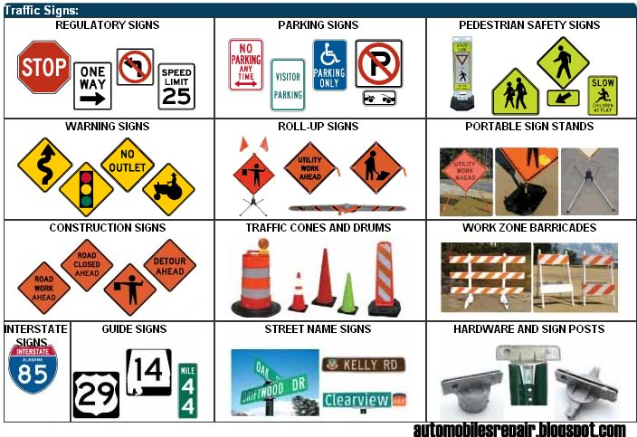 Diy Automobiles Repair Traffic Signs Symbols