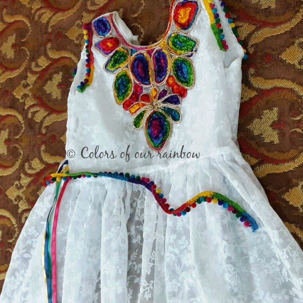 Spring inspired multicolor diy frock for kids with tutorial @http://colorsofourrainbow.blogspot.ae/