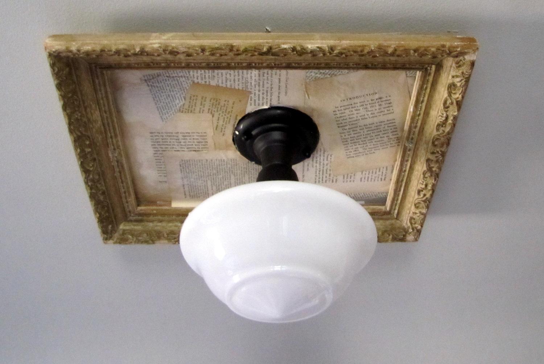 Adding vintage paper to a framed light fixture - Paper light fixtures ...