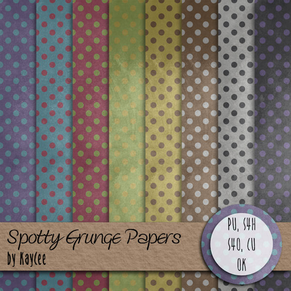 "Free scrapbook ""Spotty grunge papers"" from Kaycee"